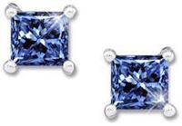 Princess Cut Platinum Stud Earrings with Blue Diamond