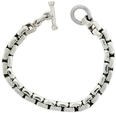 Sterling Silver Box Chain Link Bracelet with Toggle Clasp
