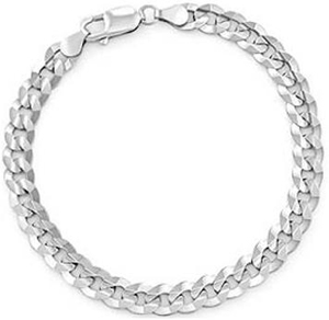 13.00gm 14k Solid White Gold Men's Cuban Bracelet Chain
