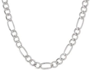 Men's 10K Gold Figaro Chain Necklace 4mm 20 Inches White Gold