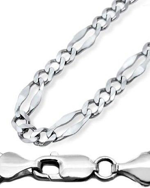 Mens 10k White Gold Figaro Link Chain Necklace 30 Inches