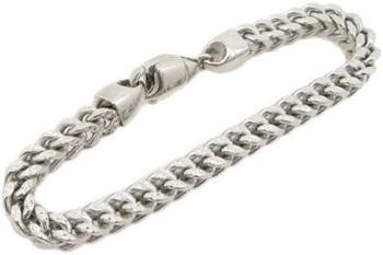 Mens 10k White Gold fancy gold diamond cut figaro cuban mariner link bracelet