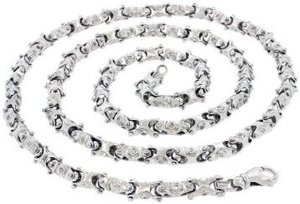 Mens Real Solid 14K White Gold Link 2.5Ct Diamond Chain Necklace 32 Inches 7MM