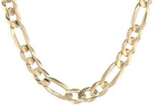 Men's Solid 10k Gold Figaro Chain 6.5mm 22 Inches