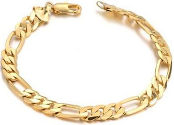 Yellow Gold 14k Figaro Bracelet 7mm 8.5 Inches