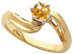 14K Yellow Or White Gold Mens Engagement Ring With Fancy Orange-Yellow Diamond