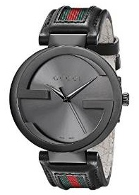 Gucci Men's YA133206 Interlocking Iconic Bezel Anthracite Stainless Steel Watch with Leather Band