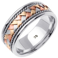 14K & Sterling Silver Tri Color Hand Braided Wedding Ring Band for Men