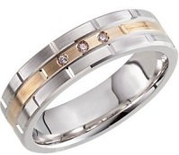 14kt Two-Tone 6mm .03 CTW Diamond Band