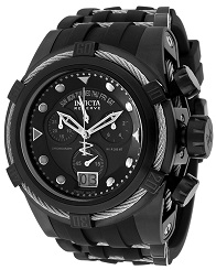 Mens Bolt Chronograph Black Polyurethane Black Dial Invicta Watch