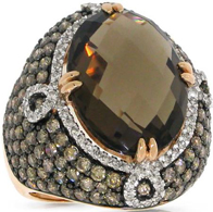 3.25ct White And Champagne Diamond And 11.60ct Smokey Topaz 14k Rose Gold Ring