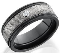 Lashbrook Z8.5FGEW2UMIL15 Meteoritedia.05B Diamond, Meteorite Inlay, and Black Zirconium Wedding Band