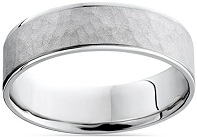 Mens White Gold Hammered Comfort Fit Wedding Band Ring