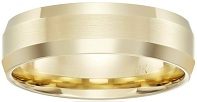 Men's 10k Gold Comfort-Fit Plain Wedding Band with Satin Center and Beveled Edges (6 mm)