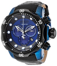 Mens Venom Reserve Chrono Black Distressed Genuine Leather Blue Dial Invicta Watch