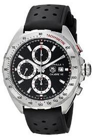 Tag Heuer Mens Formula 1 Black Dial Black Rubber Strap Chronograph Swiss Automatic Watch CAZ2010.FT8024