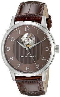 Claude Bernard Men's 85017 3 BRBN Automatic Open Heart Analog Display Swiss Automatic Brown Watch
