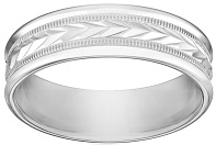 Men's 10k White Gold 6mm Comfort Fit Round Edge Plain Wedding Band with Wheat Fill Design In Center