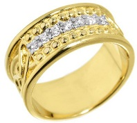 Men's 14k Yellow Gold 8.5mm Celtic Knot Band 7-Stone Diamond Wedding Anniversary Ring