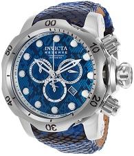 Mens Venom Reserve Chrono Blue & Black Genuine Leather Blue Dial Invicta Watch