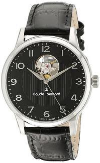 Claude Bernard Men's 85017 3 NBN Automatic Open Heart Analog Display Swiss Automatic Black Watch