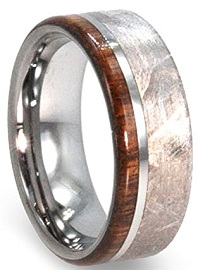 Tungsten Wedding Band With Meteorite And Ironwood, Meteorite Ring