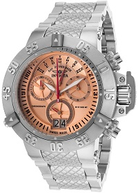 Mens Subaqua Chronograph Stainless Steel Rose-Tone Dial Invicta Watch