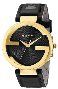 Gucci Men's YA133208 Interlocking Grammy Special Edition Yellow Gold PVD Stainless Steel Watch with Black Genuine Leather Band