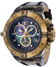 Mens Subaqua Chrono Black Leather Black MOP Dial 18K Gold Plated Case Invicta Watch