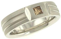 Mens Matte Band with Champagne Princess Cut Diamond