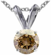 1.50 CT Champagne Diamond Solitaire Pendant 14K Gold