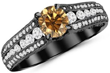 14K Black Gold Channel And Pave Set Graduating Round Designer Champagne Diamond Engagement Ring