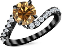 14K Black Gold Twisting & Curving Champagne Diamond Engagement Ring