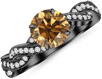 14K Black Gold Twisting Designer Eternity Love Split Shank Champagne Diamond Engagement Ring