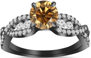 14K Black Gold Twisting Eternity Channel Set Four Prong Diamond Engagement Ring With Champagne Diamond Center