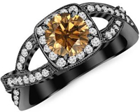 14K Black Gold Twisting Split Shank Modern Contemporary Halo Champagne Diamond Engagement Ring