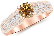 14K White Gold Channel And Pave Set Graduating Round Designer Champagne Diamond Engagement Ring
