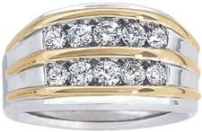 14k Two-Tone Mens Diamond Ring