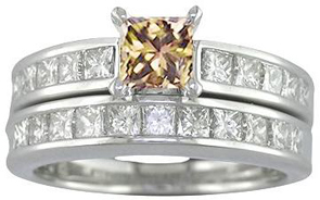 2.50 CT Champagne Diamond Wedding Set 14K White Gold