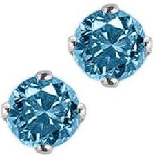 Round Brilliant Cut Blue Diamond Earring Studs