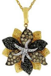 Black Champagne White Diamond Flower Necklace in 14k Yellow Gold With 14k Yellow Gold Chain