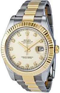 Rolex Date II Ivory Diamond Dial Stainless Steel With 18kt Yellow Gold Mens Watch