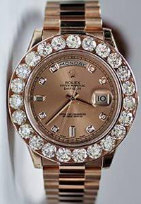 Rolex Day Date II Rose Gold Pink Diamond Dial Watch