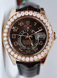 Rolex Sky Dweller Rose Gold Brown Leather Watch With Diamonds