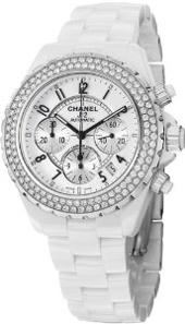 Chanel J 12 Chronograph White Ceramic Diamond Men's Watch