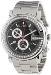 Gucci Men's YA101324 G-Chrono Diamond Case Black Guilloche Dial Watch