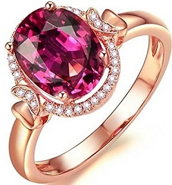 Attractive Fashion Jewelry 14K Rose Gold Natural Diamond Natual Pink Tourmaline Engagement Ring