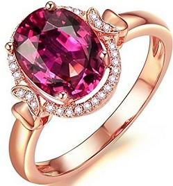 Attractive Fashion Jewelry 14K Rose Gold Natural Diamond Natual Pink Tourmaline Engagement Ring