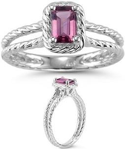 0.43 Ct 6x4 mm AA Emerald Pink Tourmaline Solitaire Ring in 14KW Gold