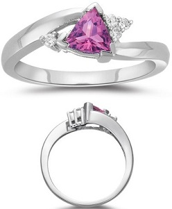 0.08 Cts Diamond & 0.61 Cts of 5.5 mm AAA Pink Tourmaline Ring in 14K White Gold